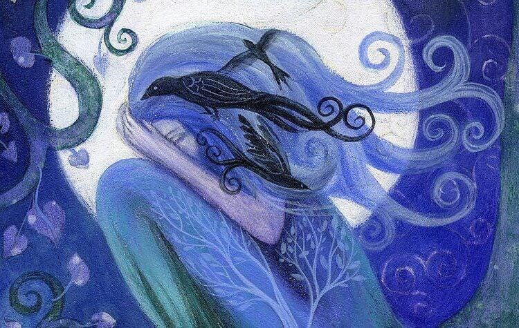 Speilteori avbildet av en blå kvinne og en svart fugl.