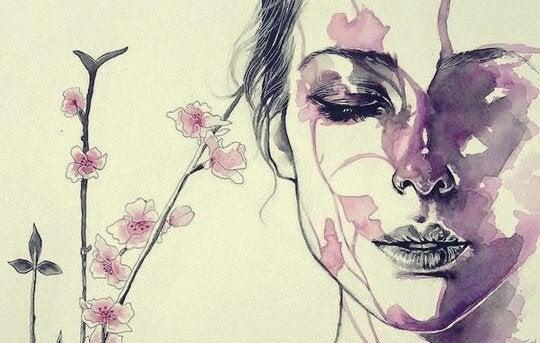 Kvinne med øynene lukket, akvarell