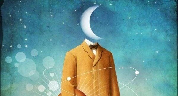 Måne erstatter en manns hode