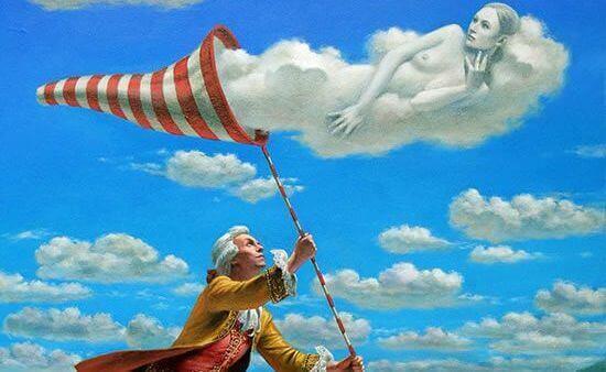 Mann fanger en sky formet som en kvinne