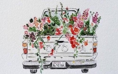 En tegning av en bil full av blomster