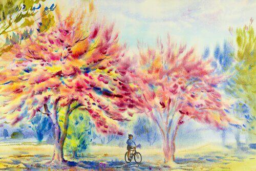 Jente sykler i frisk luft