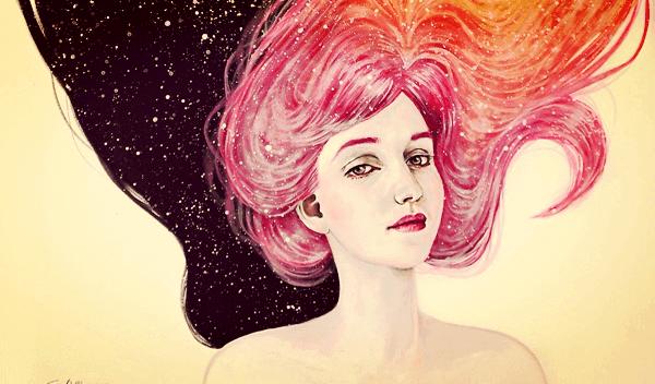 Kvinne med rosa hår i universet