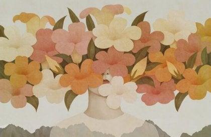 Ansikt med blomsterkrans