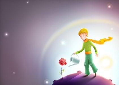 Barn vanner blomst på planet