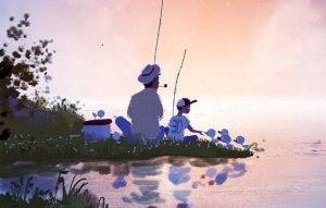 En familie som fisker sammen