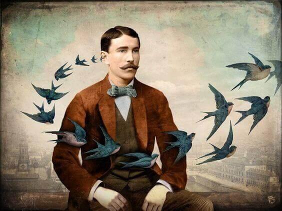 Mann med fugler