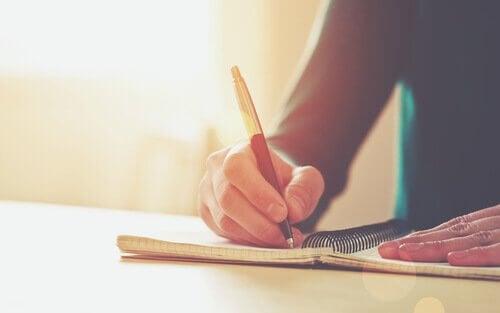 Person skriver dagbok