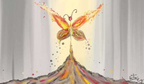 En tegning av en sommerfugl