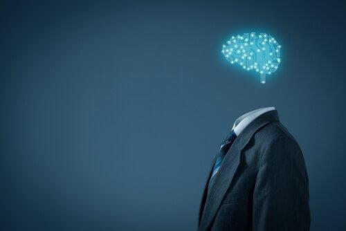 Mann med hjerne av lys