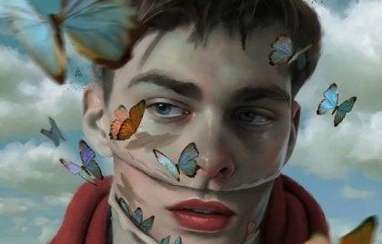 Mann med sommerfugler