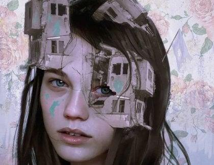 Kvinne med ødelagte hus i ansiktet