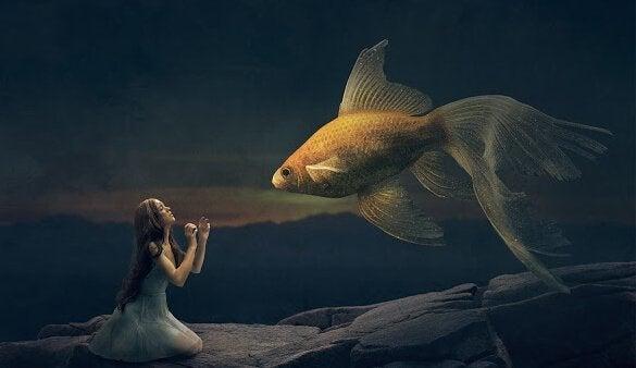 Jente og fisk