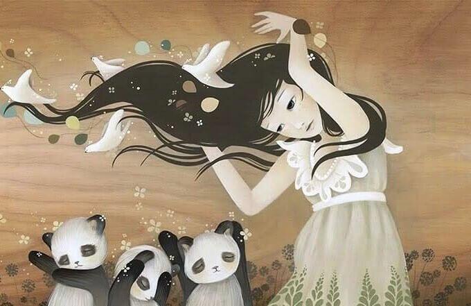 En jente og flere pandaer