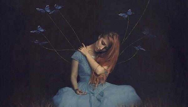 Jente med sommerfugler