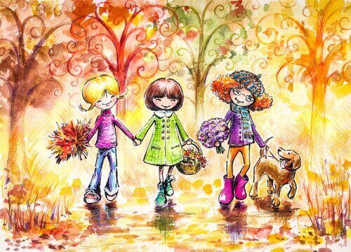 Tre venner i skogen