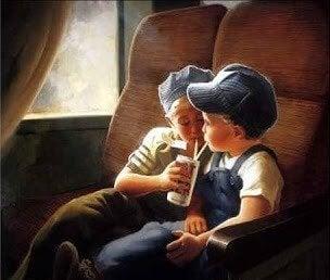 Barn på tog