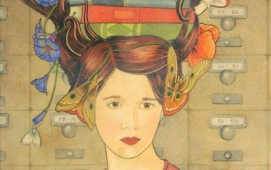 Kvinne med bøker i håret