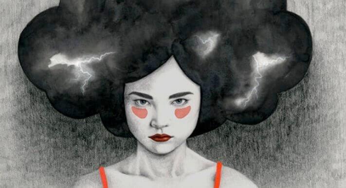 Kvinne med mørk sky rundt hodet