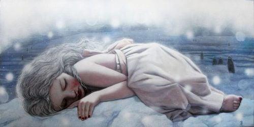 Jente fylt med tristhet