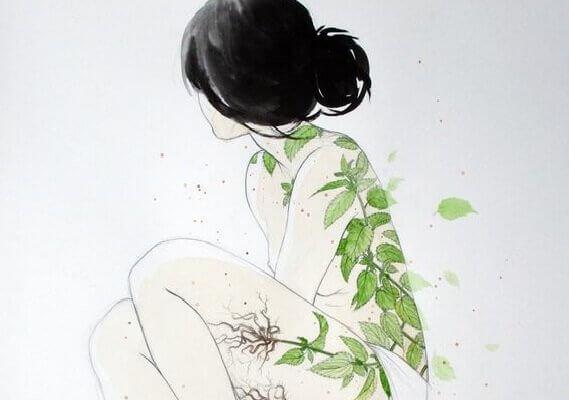 Kvinne med blader