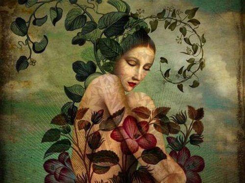Trist kvinne og blomster