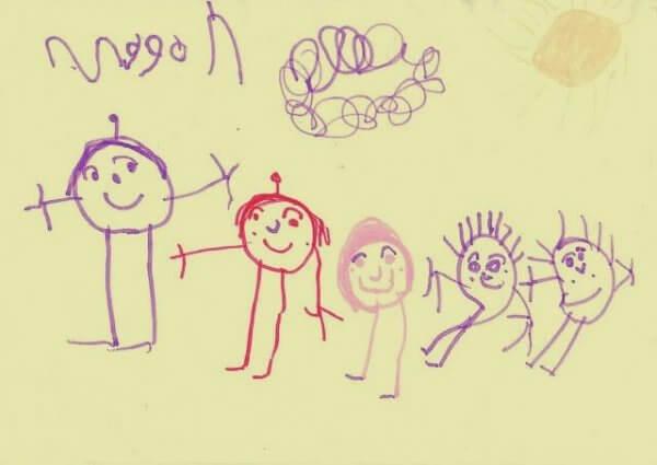 En lykkelig familie i en tegning.