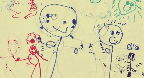 Et barns tegning av familien