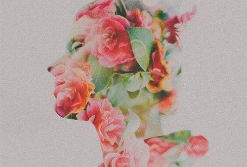 En side profil med blomster