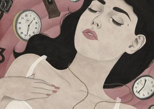 Dame omringet av klokker