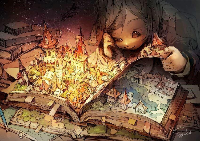 En jente som leser en fortelling