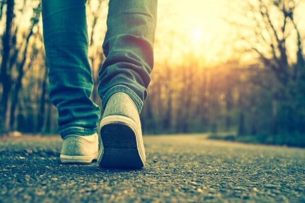 Person går tur