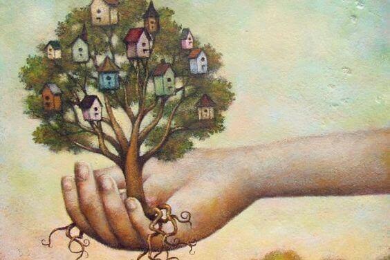 et tre med røtter og hus