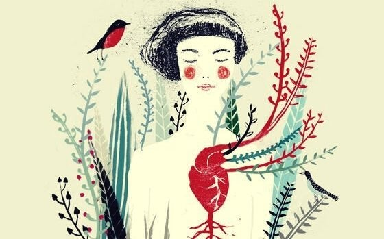 Kvinne med fugl og planter