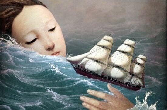 kvinne og skip