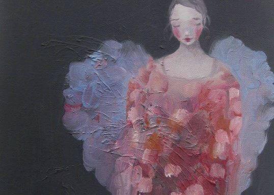 Maleri av en fortvilt kvinne