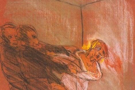 En tegning av en mann som er fanget