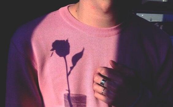 Genser med skygge av rose