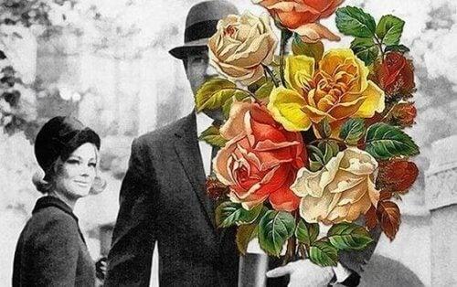 Mann med blomster
