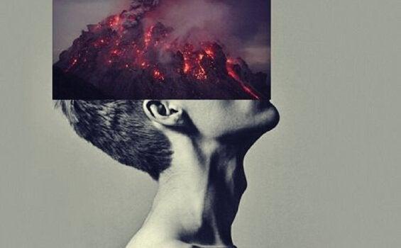Mann med en vulkan i ansiktet sitt symboliserer uttalelser om sinne