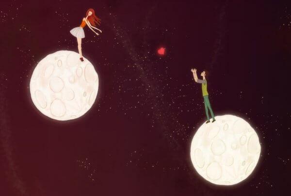 Gutt og jente på hver sin måne