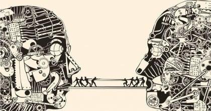 Representasjon av to mennesker som kommuniserer