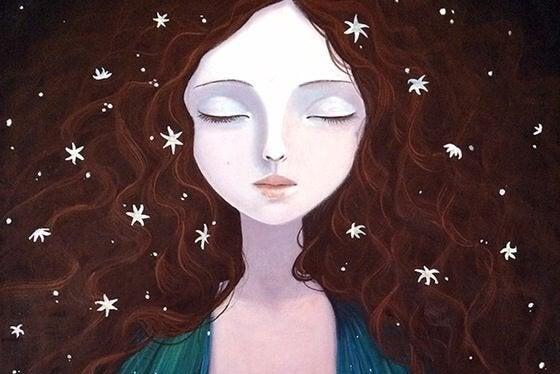 Tegning av dame med stjerner i håret