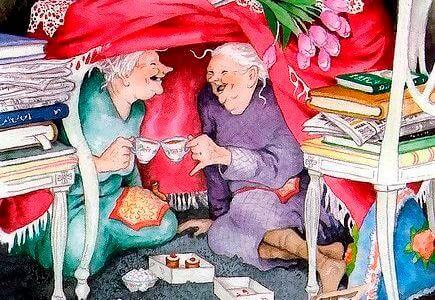 Gamle venner deler kaffe og søtsaker i et fort med bøker.