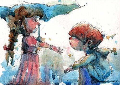 jente med paraply