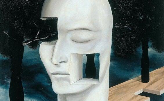 Et hvitt menneskelig ansikt med områder som mangler: wetiko.