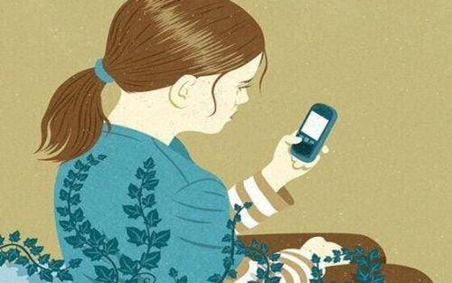 Jente med telefon