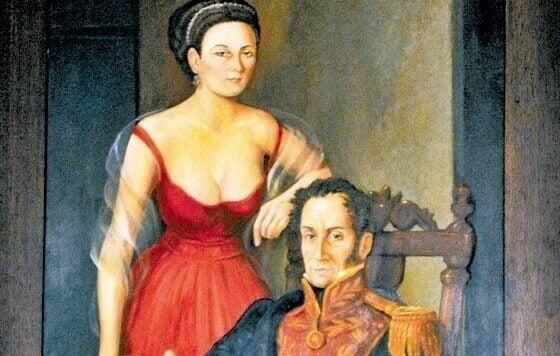 Maleriportrett av Manuelita og Bolivar