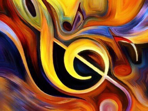 fargerikt maleri av noter