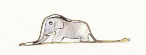 Tegning av en elefant inne i en slange